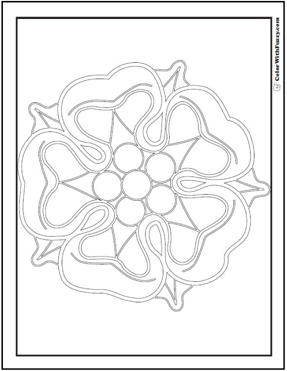 Large Center Rose Pattern Coloring Sheet