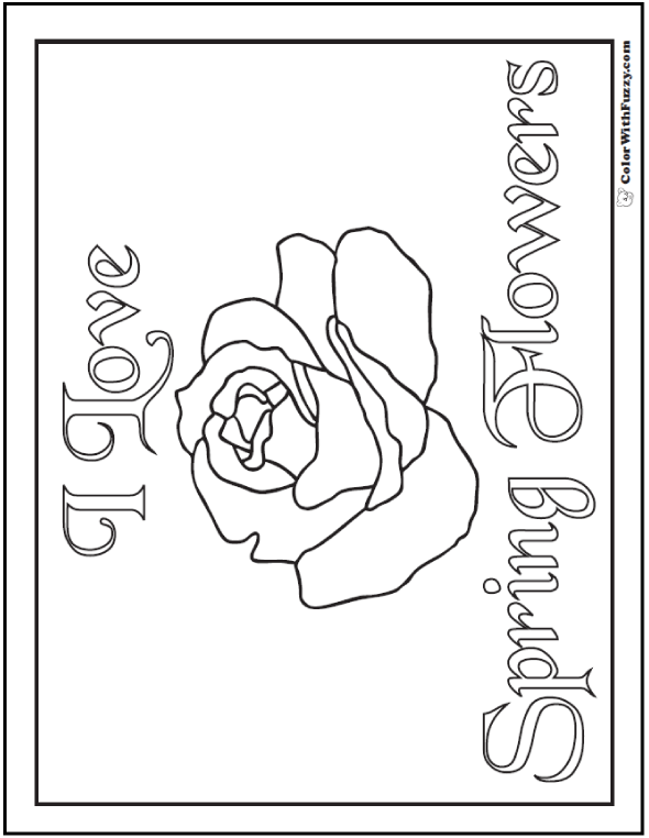 I Love Spring Flowers Banner - Rose - Coloring Page