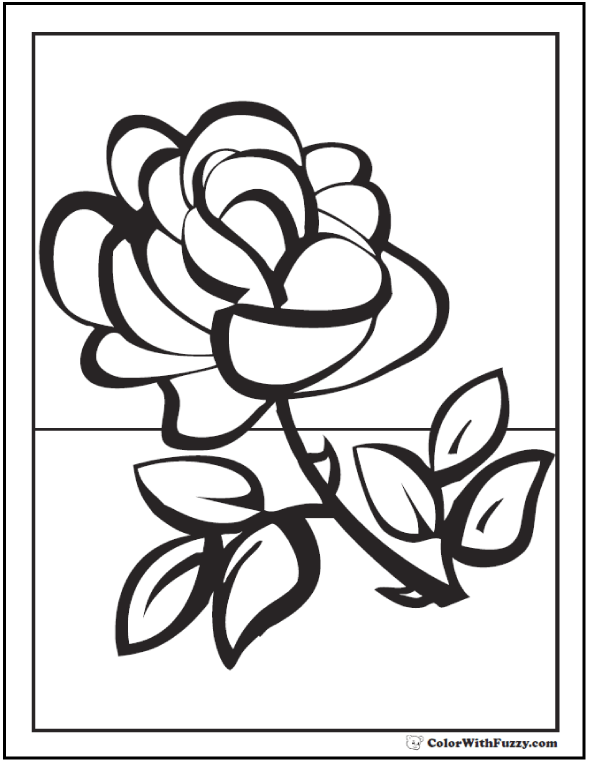 Rose Spring Flowers Coloring Picture