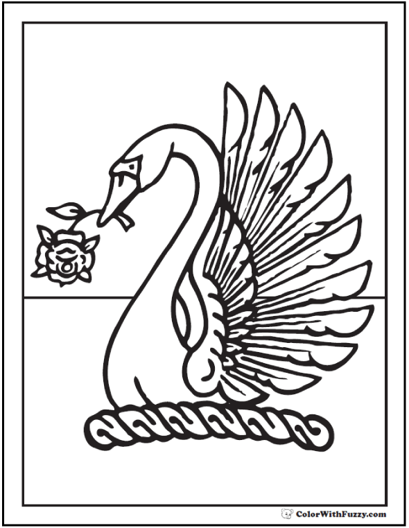 Swan With Rose Coloring Sheet