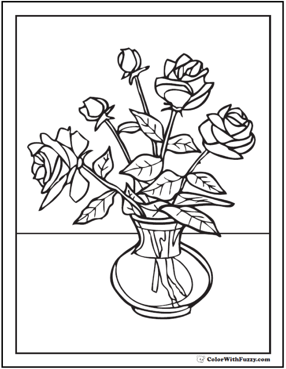 Emejing Coloring Pages Roses A Vase Images - Coloring 2018 ...