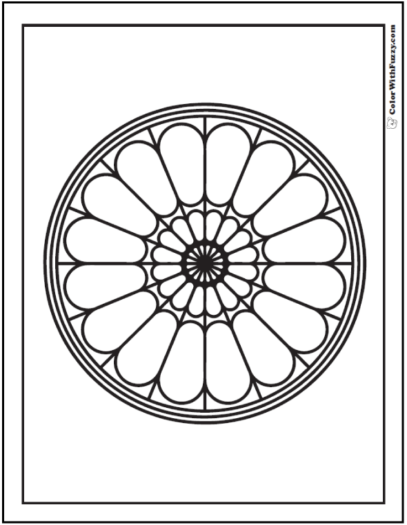 Stained Glass Rose Window To Color
