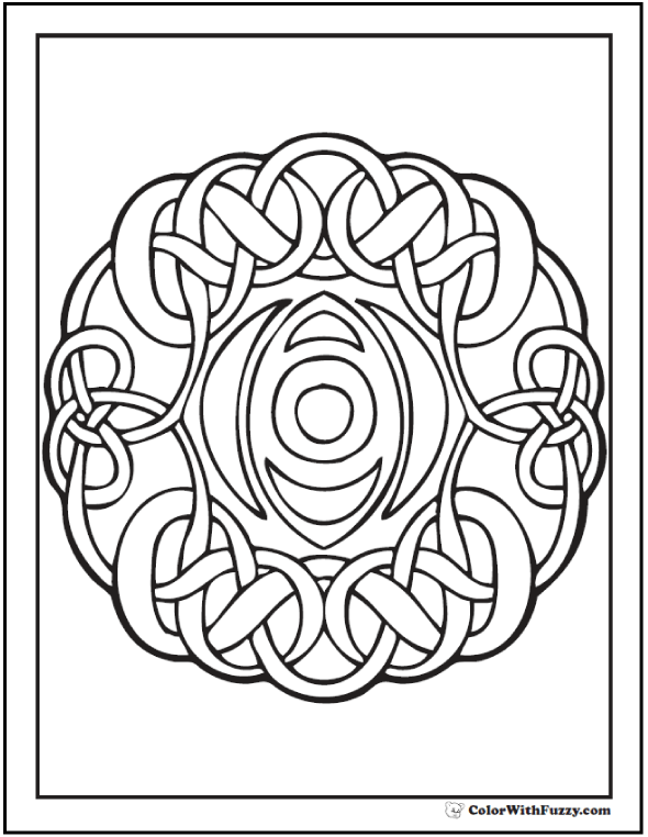 Round Celtic Coloring Pages: Infinity knot wreath.