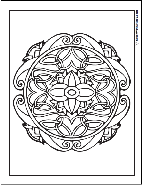 Celtic Coloring Pages at ColorWithFuzzy.com: Round Celtic Cross Design