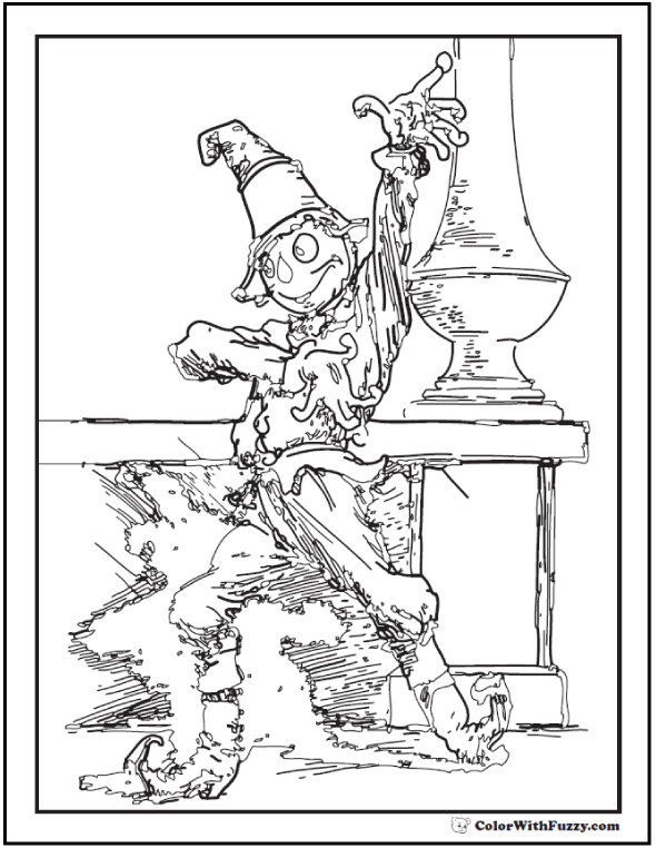 Dancing Scarecrow Coloring Printable For Adults
