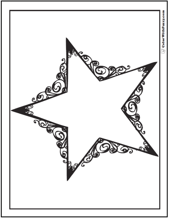 Beau Cowboy Scroll Work Star Coloring Pages