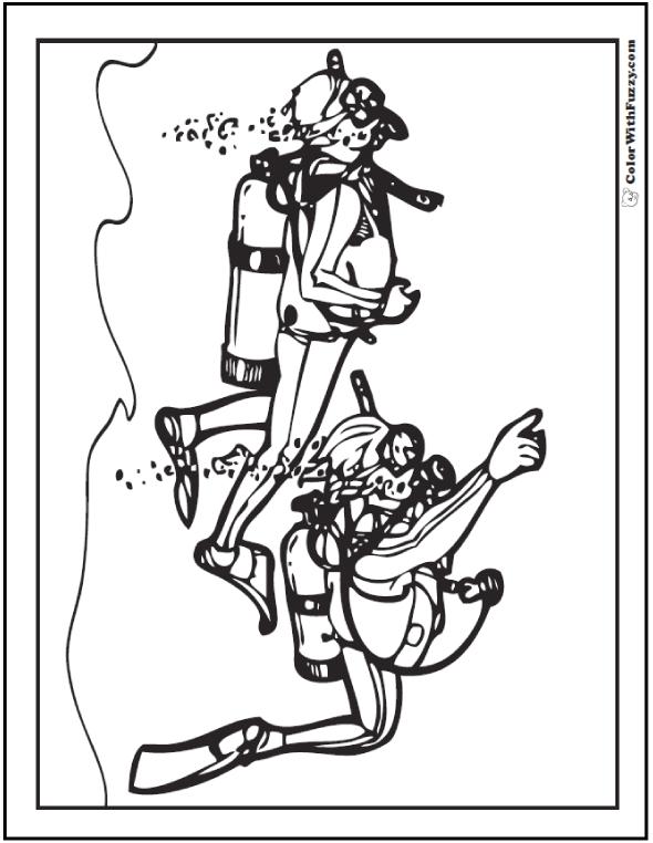 SCUBA Coloring Page