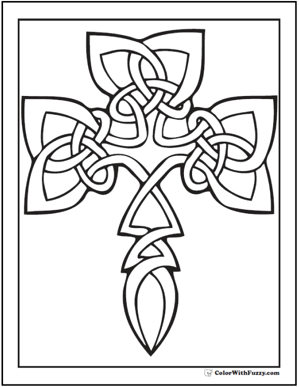 Celtic Coloring Pages at ColorWithFuzzy.com: Cross Shaped Shamrock Celtic Knot Coloring Page