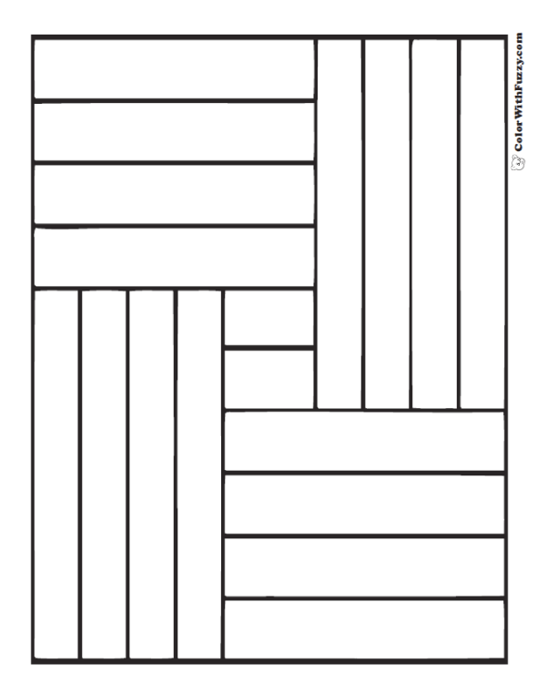 Squares and Rectangles shape pattern coloring sheet