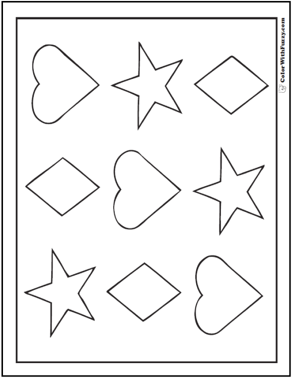 coloring pages and shapes | 80+ Shape Coloring Pages Color Squares, Circles, Triangles