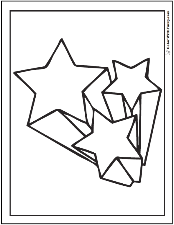 Three Up Shooting Star Coloring Sheet