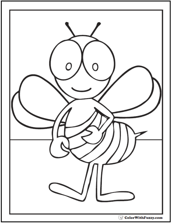 Bug eyed bee coloring page.