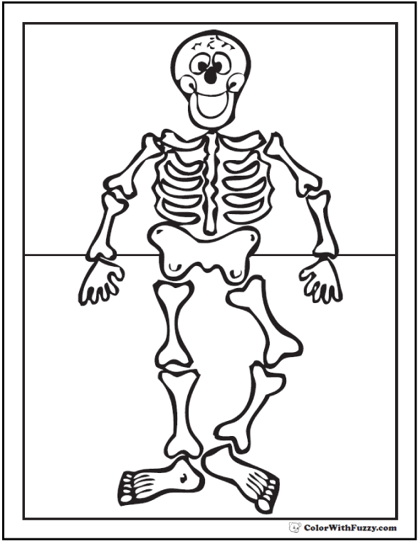 Happy Skeleton Coloring Printable For Kindergarten