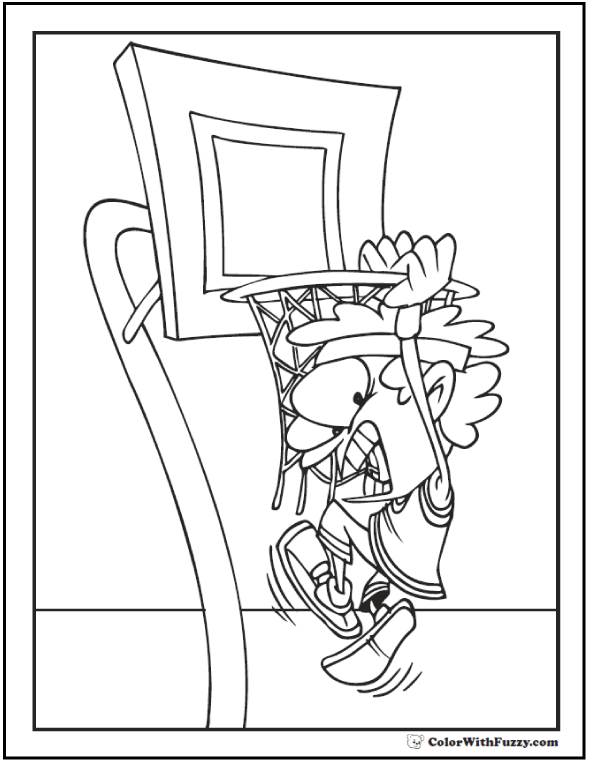 No hanging on the net basketball player coloring picture