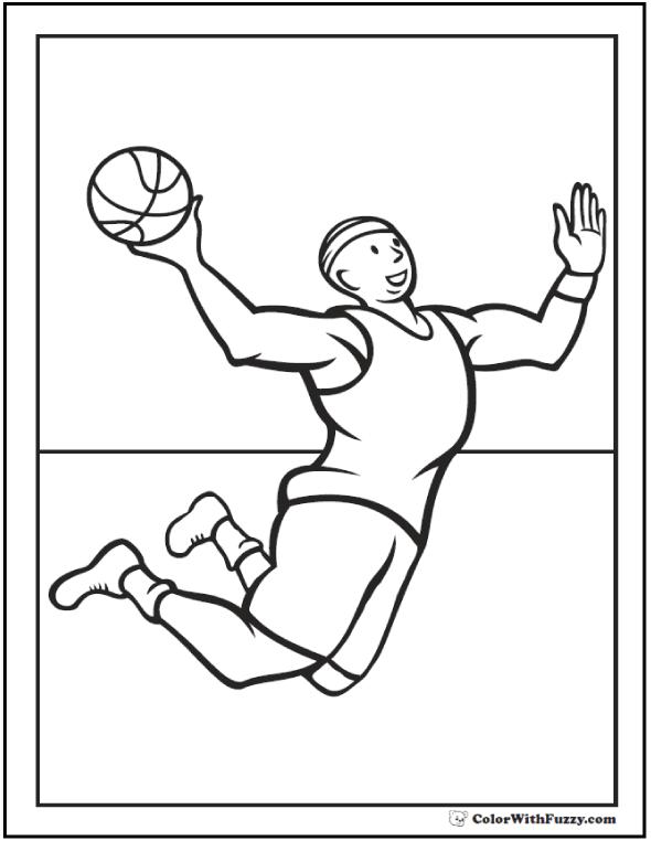 Flying Slam Dunk Basketball Player Coloring Sheet