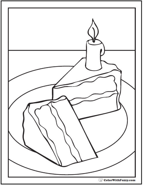 Slices of Birthday Cake Coloring Sheet