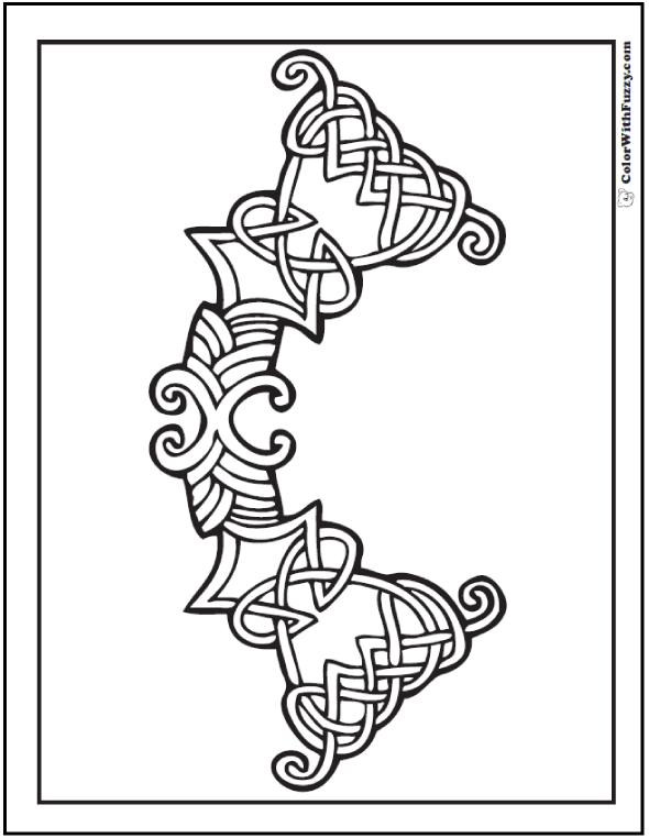 Small Celtic Knots Designs are fun to color. I think this printable coloring page has a heraldry feel. Make it bold purple and yellow on deep green field.
