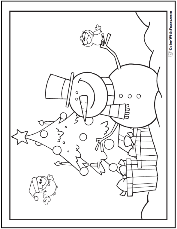 Snowman Christmas Tree Coloring Page