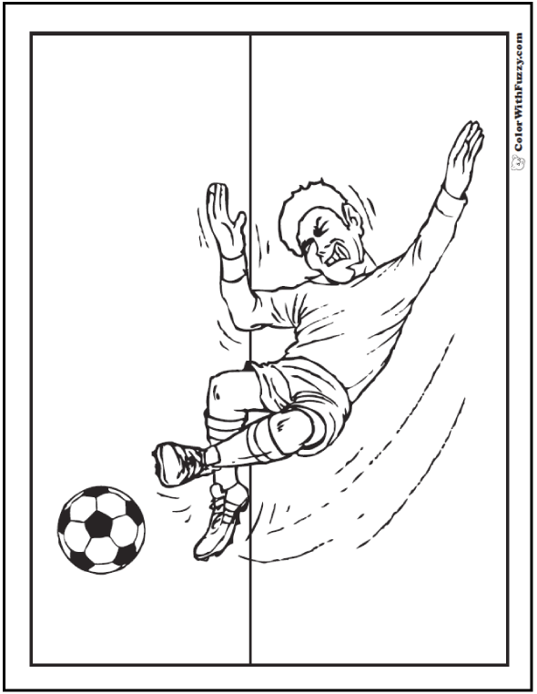 High Kick Midfielder Soccer Coloring Printable