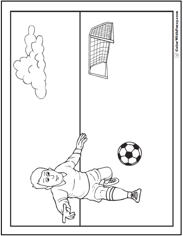 Soccer Goal And Soccer Player Coloring Picture