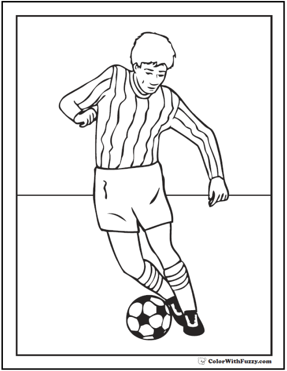 Soccer Dribble Coloring Picture