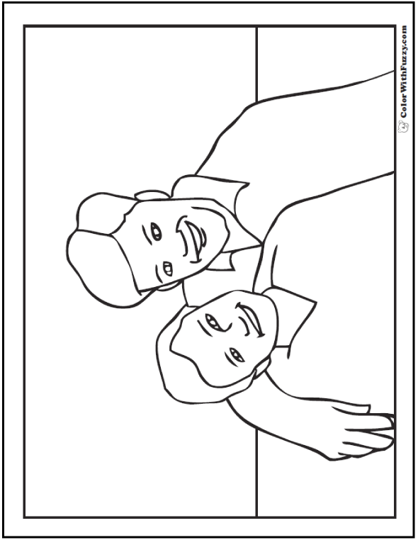Father's Day: Son and Father  #FathersDayColoringPages and #KidsColoringPages at ColorWithFuzzy.com