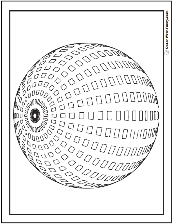 Squares On Sphere Coloring Page