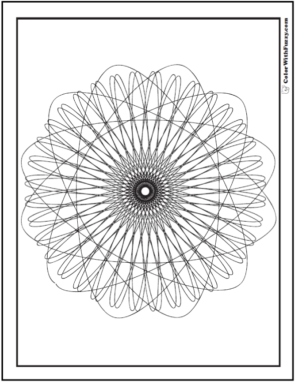 Spirograph Geometric Coloring Pages: Atomic design.