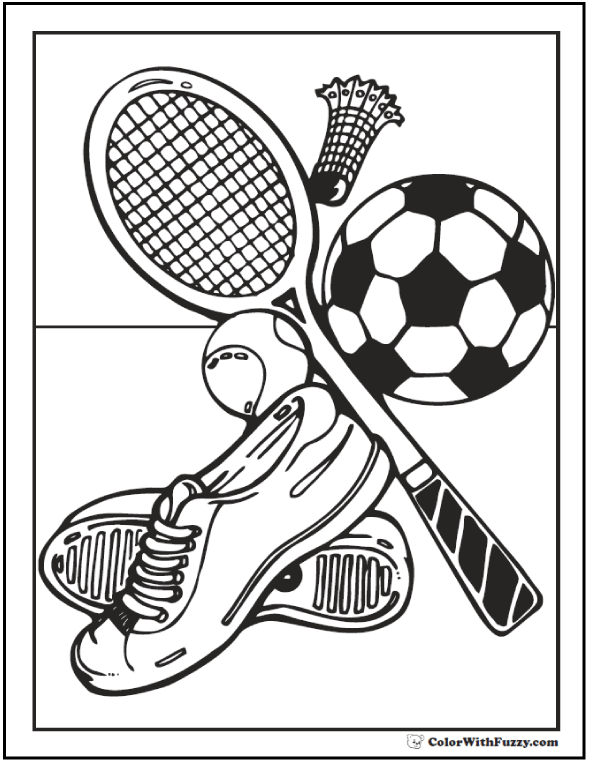 field and court sports coloring page - Printable Sports Coloring Pages