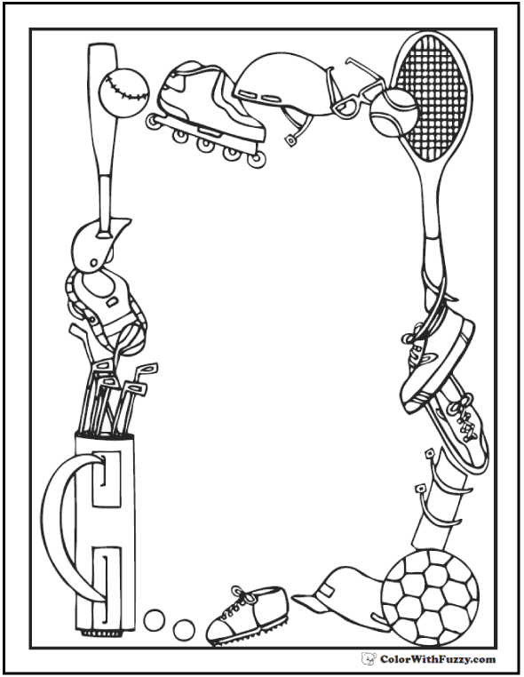 Field sports border coloring pages to print.