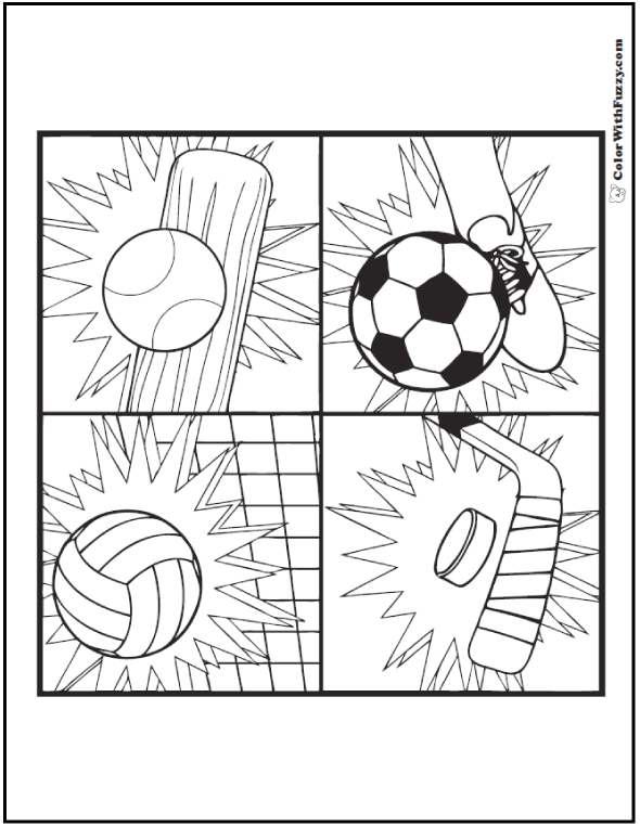 All season winter, spring, summer, or fall sports coloring sheets.