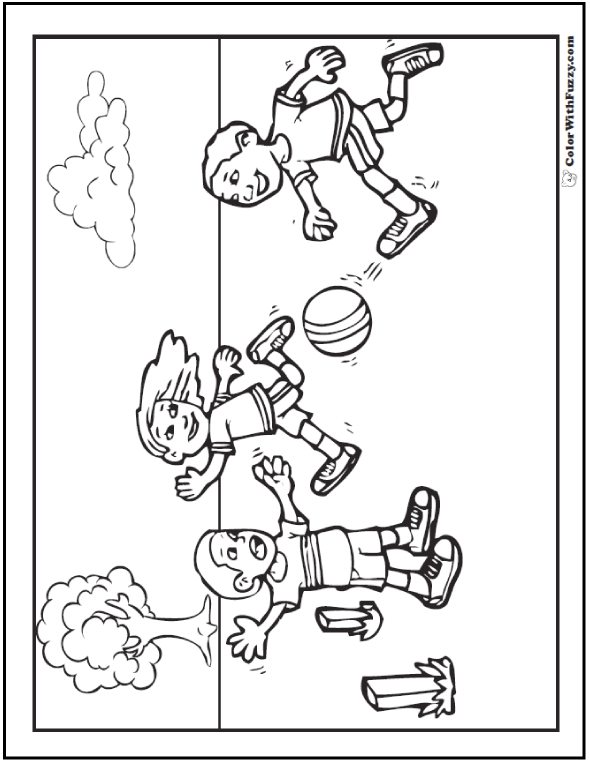 Kids playing sports coloring