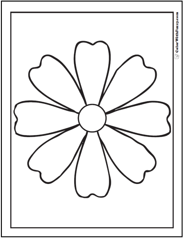 Simple Daisy Preschool Spring Flower Coloring Page