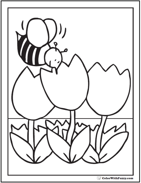 Bee and Tulips - Spring Flower Coloring Sheet