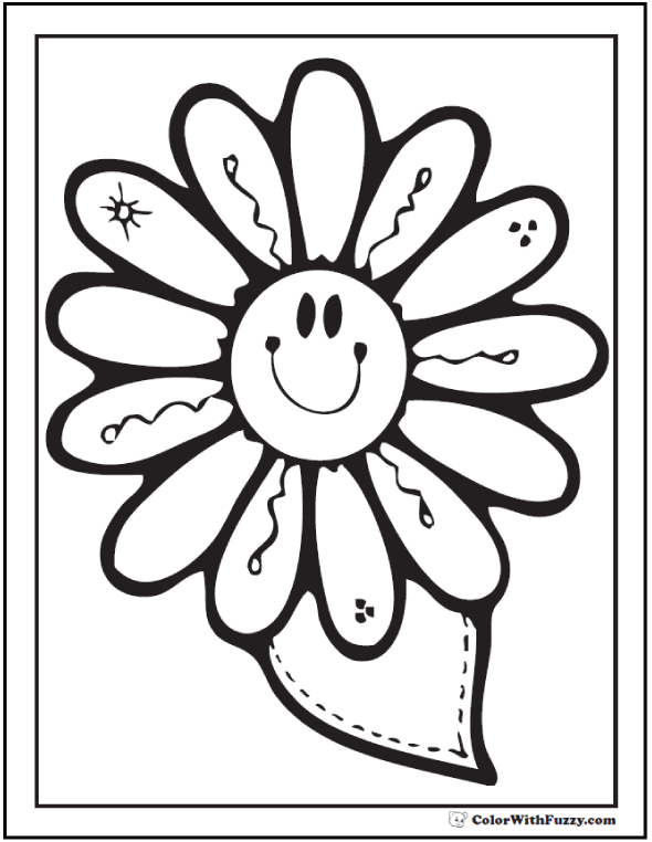 printable spring flowers happy daisy flower - Flower Printable Coloring Pages