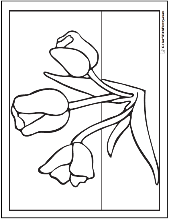 Spring Flowers - Tulip Coloring Picture