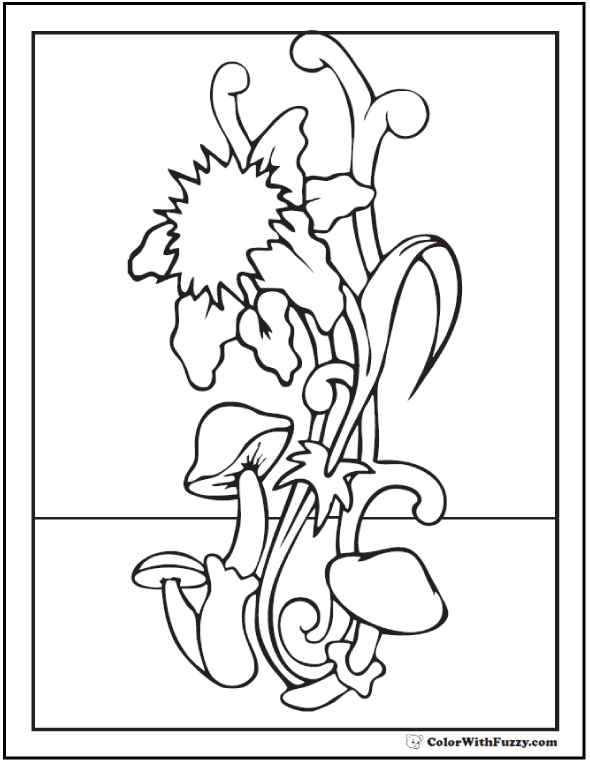 Spring Flowers Coloring Sheet - Stylized mushroom and daffodil.