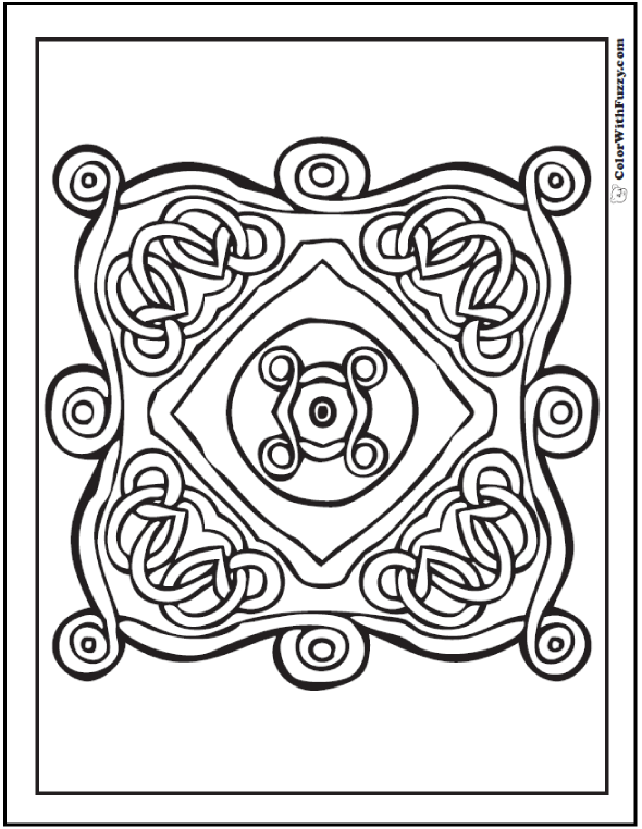 Color one of Fuzzy's square Celtic coloring pages.