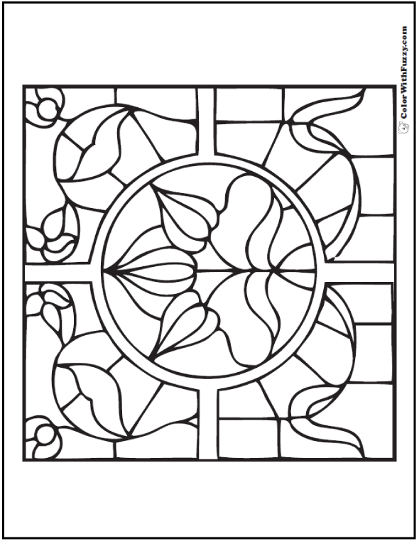Stained Glass Adult Coloring Picture: Iris and vine.
