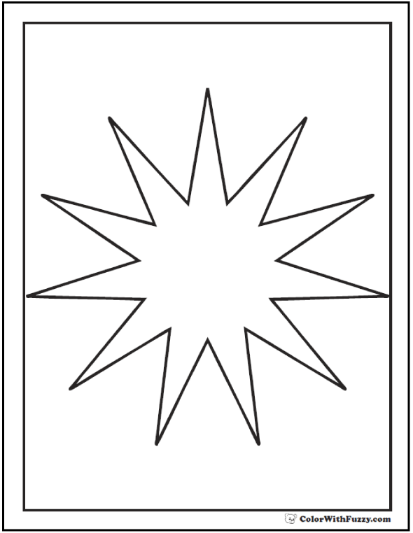 Eleven Point Starburst Coloring Picture