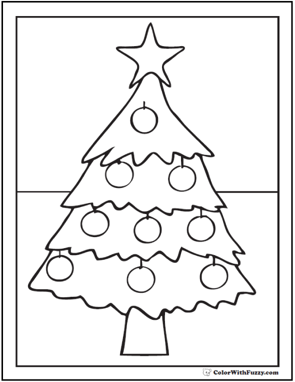 Star Christmas Tree Coloring Pages: Star, apples, ornaments.