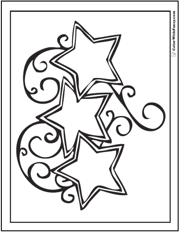 Three Star Coloring Pages Swirled