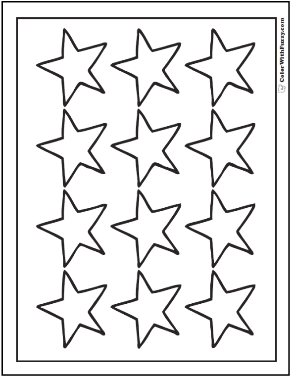 Twelve Star Coloring Sheet
