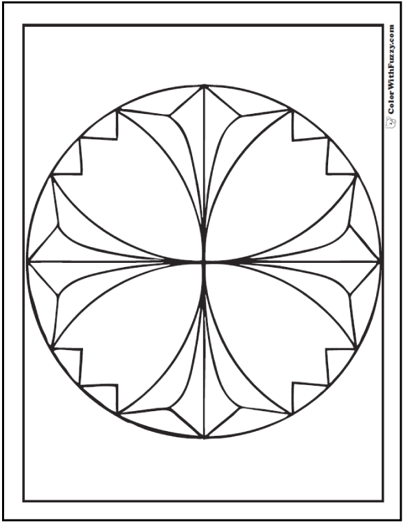 Cross Star Design Coloring Page