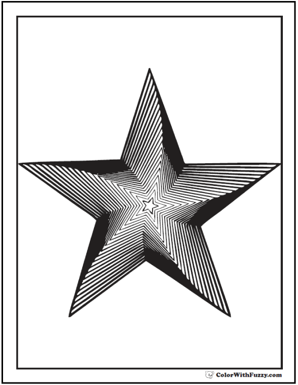 Star Geometric Coloring Page: Stack of stars in swirl or twist.