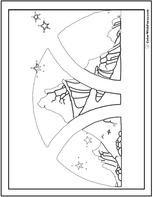 Star Mountain Coloring Page