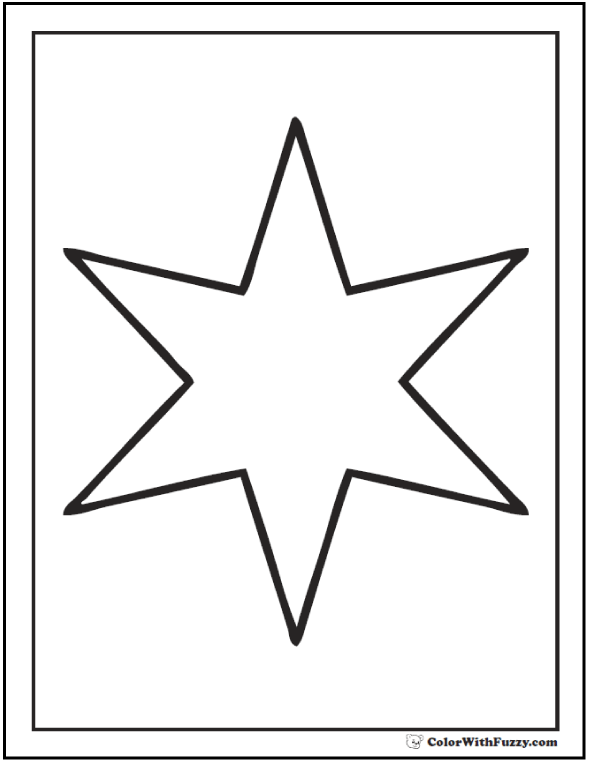 Six Point Star To Color