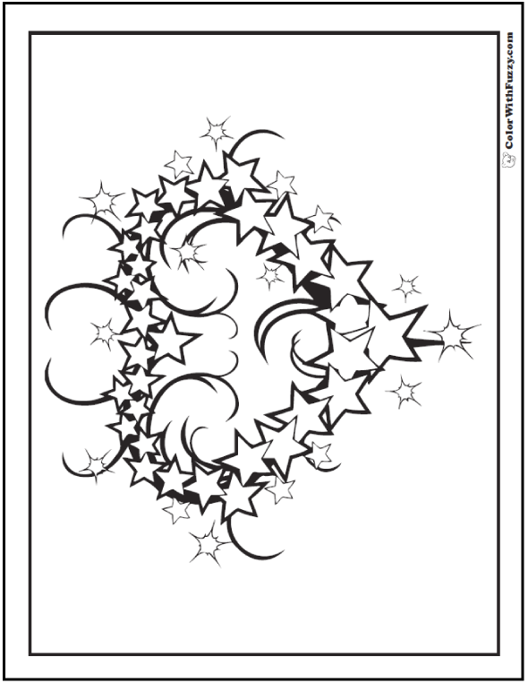 Heart of stars wreath Fourth of July coloring page.