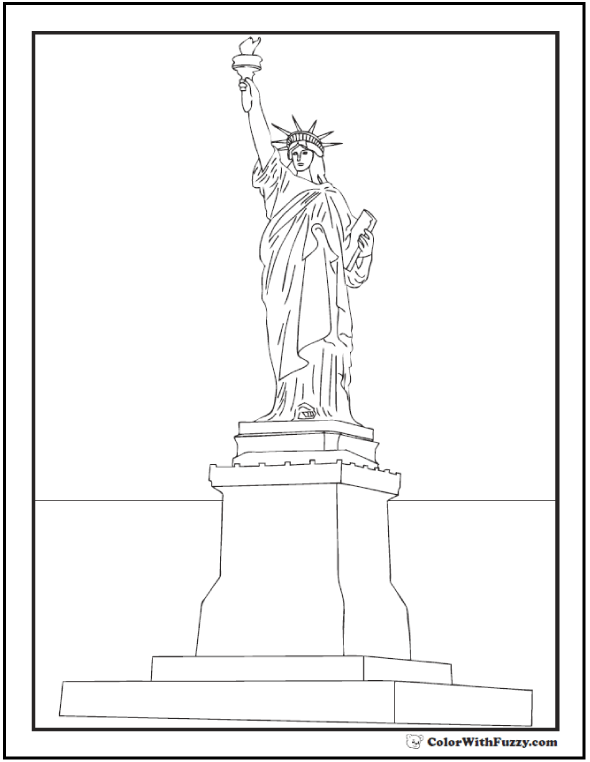 Statue of Liberty Base Fourth of July coloring page.