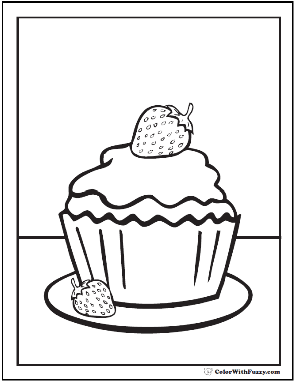 Strawberries and Cupcake Coloring Pages
